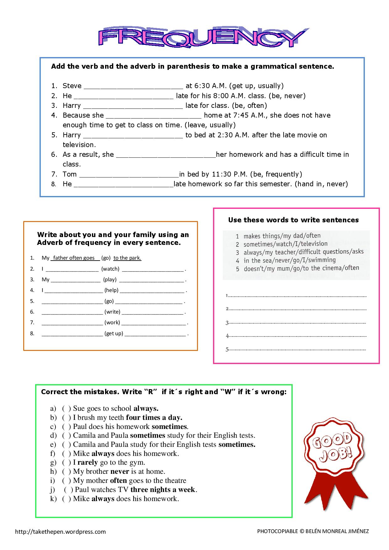 Worksheet Free Worksheets On Adverbs adverb worksheet abitlikethis examples for kids frequency adverbs worksheet