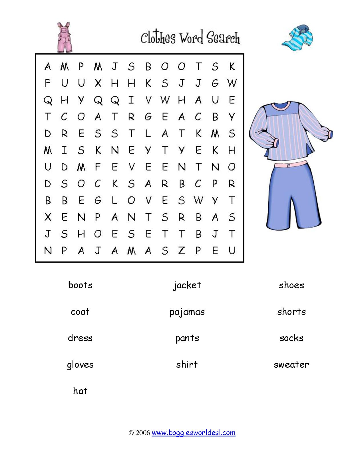 Clothes vocabulary interactive games