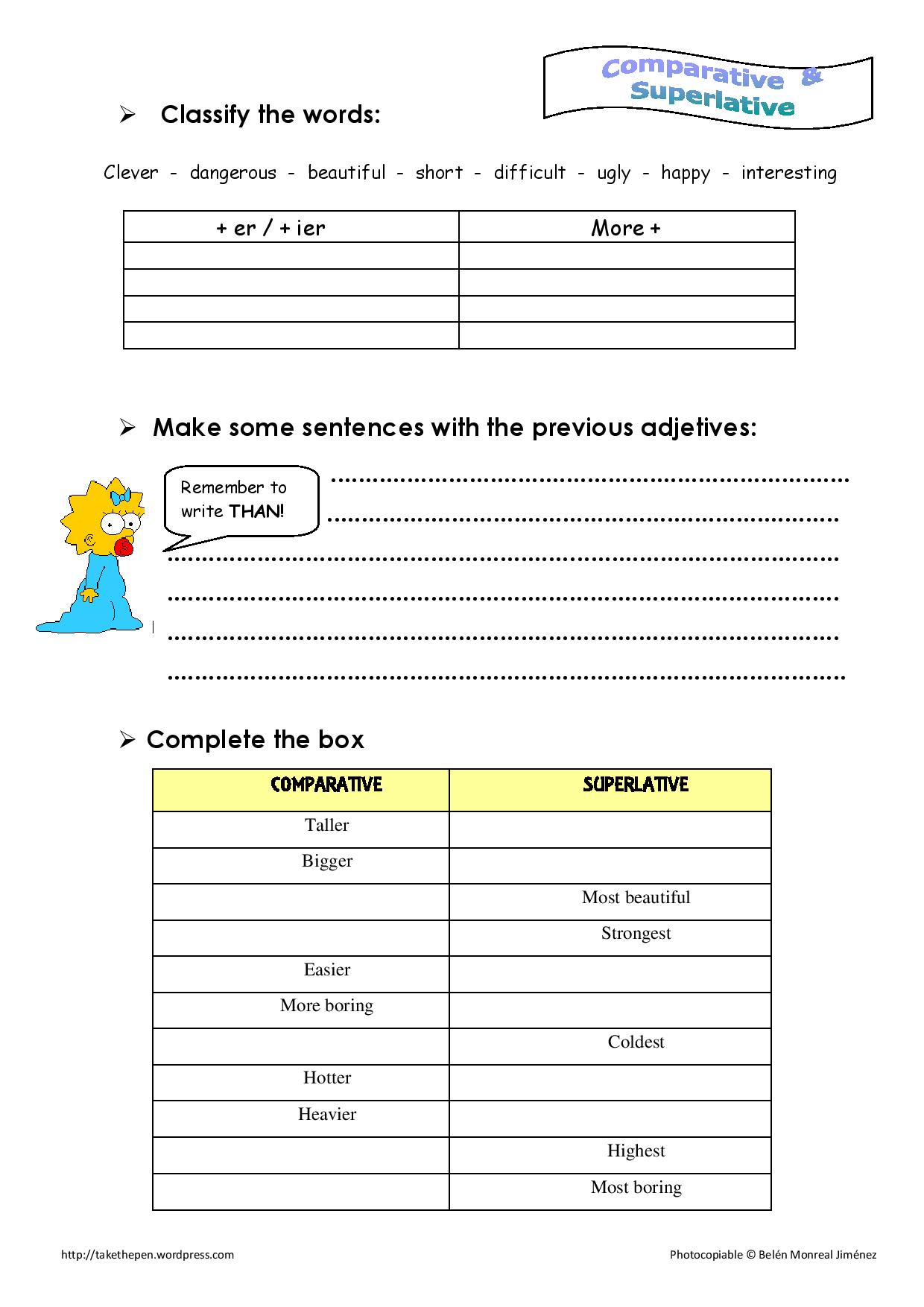 Comparative adjetives worksheet