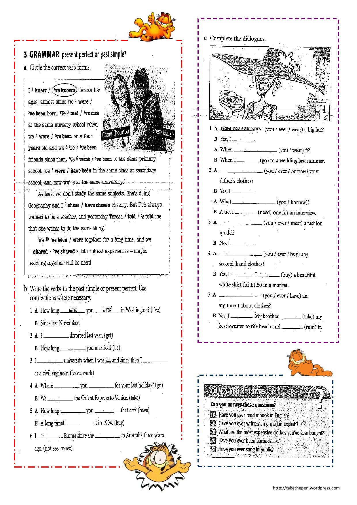 Present Perfect Worksheet Free Worksheets Library | Download and ...