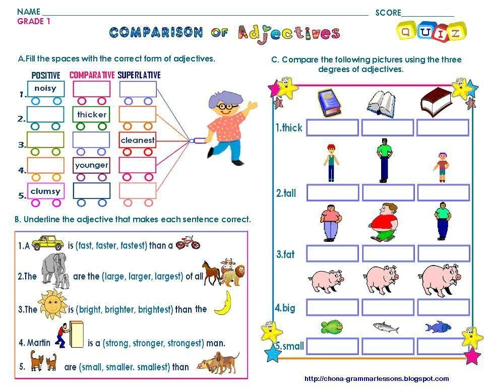 English grammar ElementaryTake the pen – Comparative Adjectives Worksheets