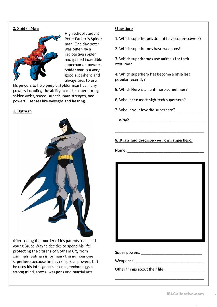 Top 10 Superheroes Reading Prehension Exercises Writing